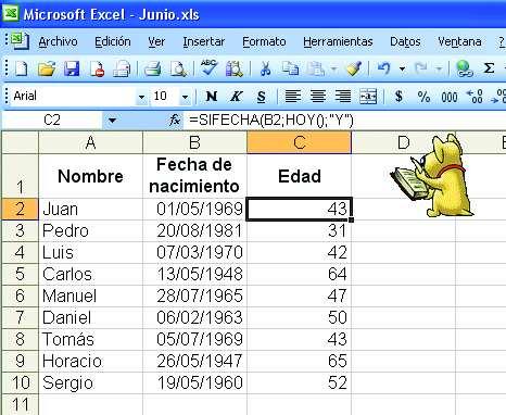 Excel una f rmula para calcular la edad redusers for Como hacer una nomina en excel con formulas