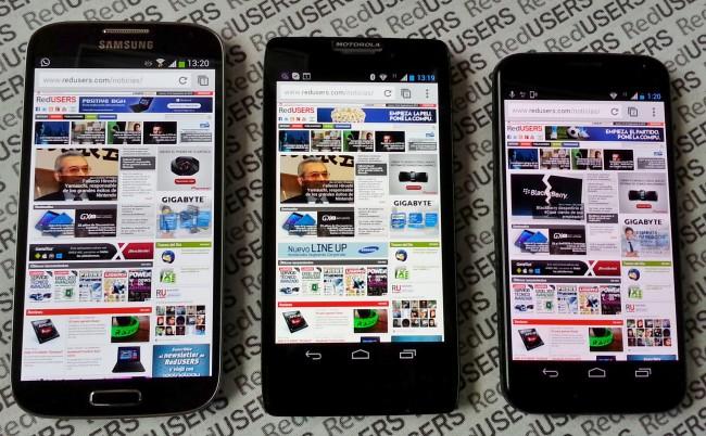 """De izquierda a derecha: Samsung Galaxy S4 (pantalla de 5""""), Motorola RAZR HD, Moto X."""