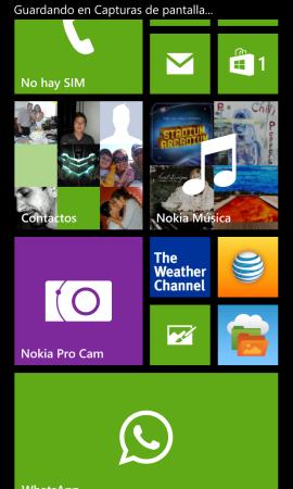 La pantalla de inicio de todo Windows Phone.