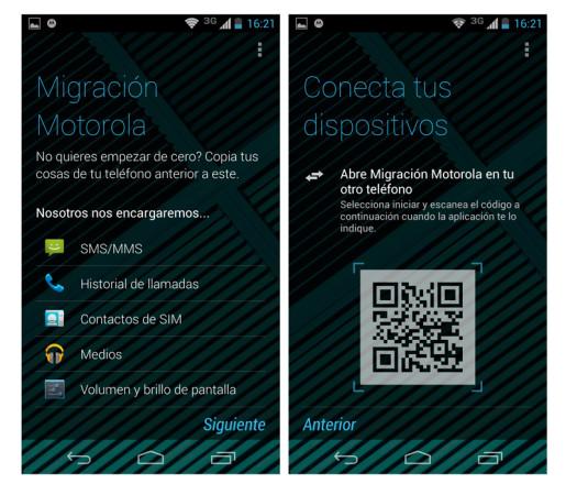 El proceso de migración de datos de nuestro equipo anterior al Moto X.