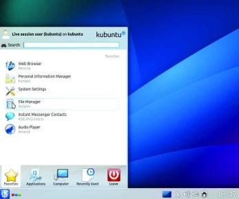 Kubuntu mantiene la tradicional barra de menú en la parte inferior del escritorio.