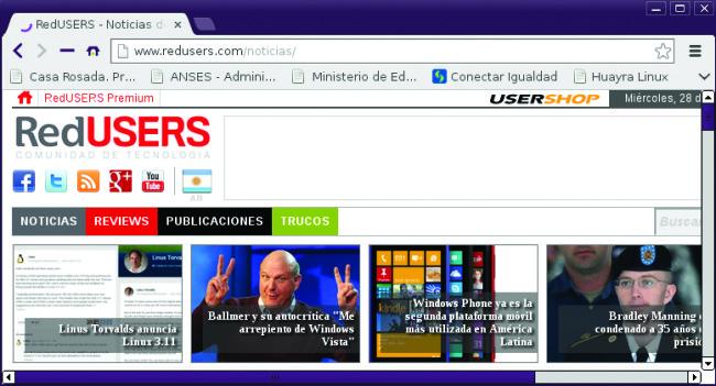 El navegador incluido es Chromium, muy similar a Chrome en su utilización.