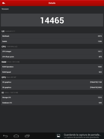 Los resultados por categoría de Antutu Benchmark.