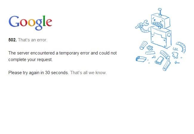 Este mensaje apareció esta mañana al intentar cargar Gmail.