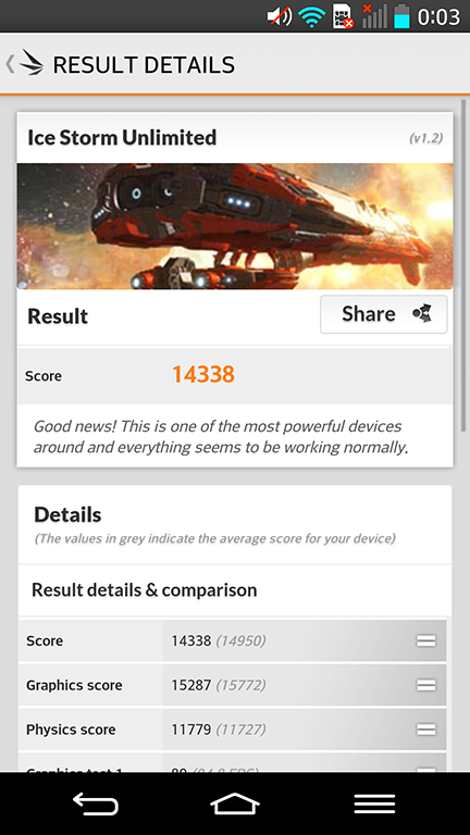 El G2 también se destaca en cuanto a su capacidad gráfica, como queda en evidencia por el benchmark de 3DMark.