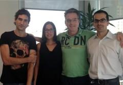 El equipo: Pablo Echeverria (Services), Laura Perez Limpias (Administracion), John Berkeljon (CFO), Sergio Cusmai (CEO)
