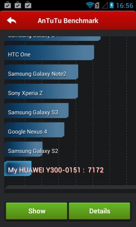 Los resultados de AnTuTu no son de sorprender, este equipo está ubicado bastante por debajo del Galaxy S2.