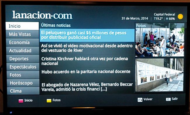 Aquí podemos observar una de las apps incluidas. Se trata de la aplicación propia del diario La Nación.