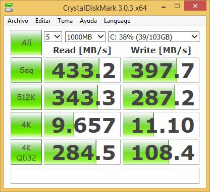 CristalDisk Mark también otorga excelentes resultados para este disco SSD.