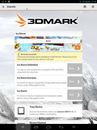 3D Mark lamentablemente no puede ser corrido en este dispositivo por falta de memoria interna.