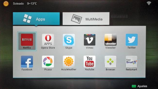 Al acceder a la plataforma Smart TV, nos encontraremos con todas las aplicaciones esenciales.