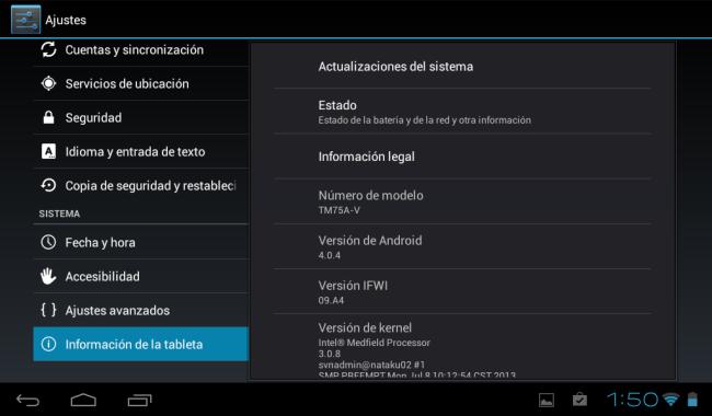 La versión de Android, algo desactualizada para los tiempos en los que estamos.