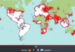 El mapa de actividad en la red social Twitter durante la final de la Copa del mundo.