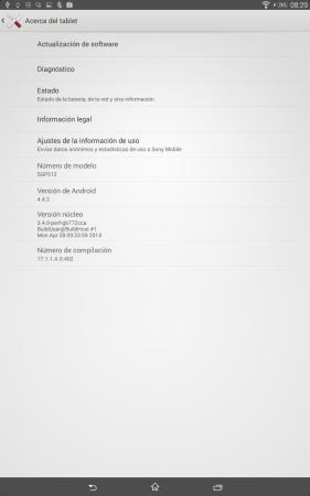 El detalle de la versión de Android.