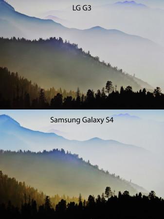 Vista frontal de ambas pantallas bajo las mismas condiciones de luz y ambiente.