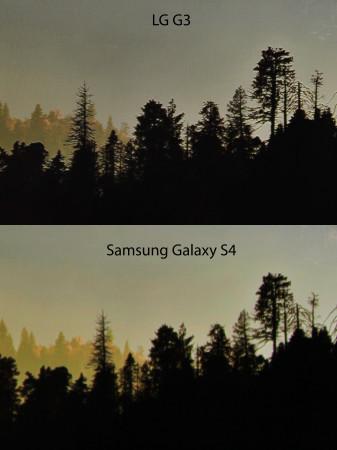 Como se observa, los detalles de los arboles se notan mucho más nítidos en la pantalla del G3.