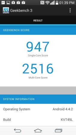 GeekBench ubica al G3 justo por debajo del Galaxy Note 3.