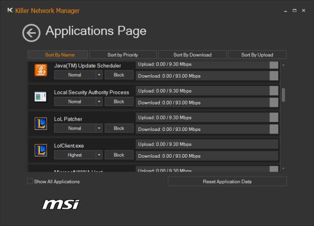 Vista de configuración de las aplicaciones.