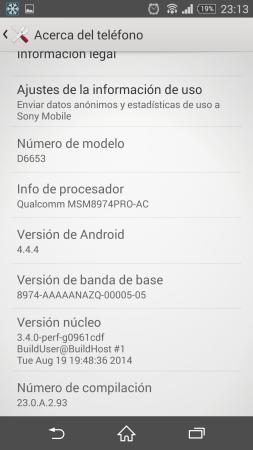 La versión de Android preinstalada, 4.4.4 Kit Kat