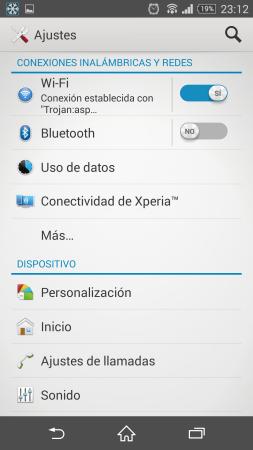 El panel de configuración con el estilo visual de Xperia.