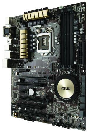 Un gran disipador circular cubre el chipset Intel Z97 sobre el que está construido el motherboard.
