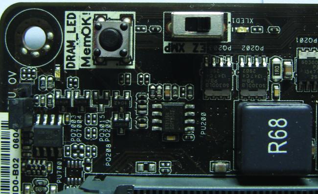 Aquí vemos el botón MemOK!, que permite solucionar rápidamente problemas de arranque debidos a la configuración errónea de la memoria RAM.
