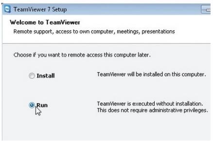 Ejecutamos TeamViewer. Elegimos si deseamos realizar la instalación completa o sólo ejecutarlo. Para este ejemplo solo ejecutamos el programa, marcamos la opción adecuada y continuamos.