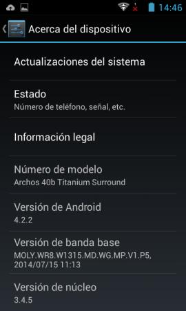 Captura de la versión pre-instalada de android