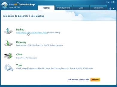La ventana principal de Todo Backup. Hacemos clic sobre [Data Backup (File, Disk/Partition, Mail)], que se encuentra en la sección [Backup].