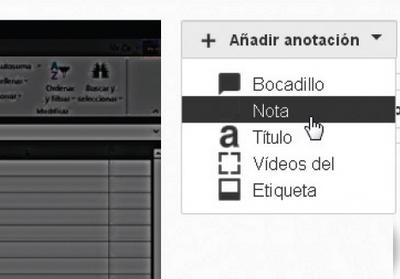 En la siguiente pantalla hacemos clic en el menú desplegable [Añadir anotación] y seleccionamos alguno de los formatos disponibles.