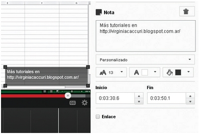 En la pantalla siguiente escribimos el texto en el cuadro correspondiente. Desde la sección [Personalizado] podemos cambiar el tamaño y el color de la fuente o el color de relleno de la anotación. Desde [Inicio] y [Fin] podemos determinar el momento de iniciación y la duración para que la anotación esté visible. Para finalizar, hacemos clic en [Publicar].