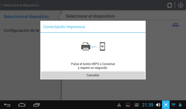 14 - Como se conectara por Direct WiFi me pide que presione el botón WPS que esta sobre la impresora.