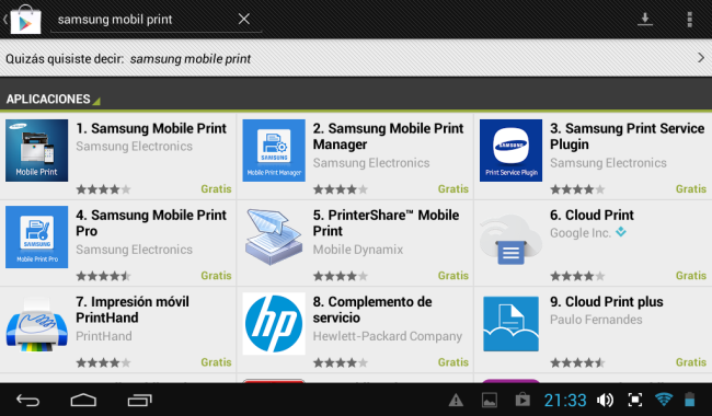 2 - Buscamos el Samsung Mobile Print