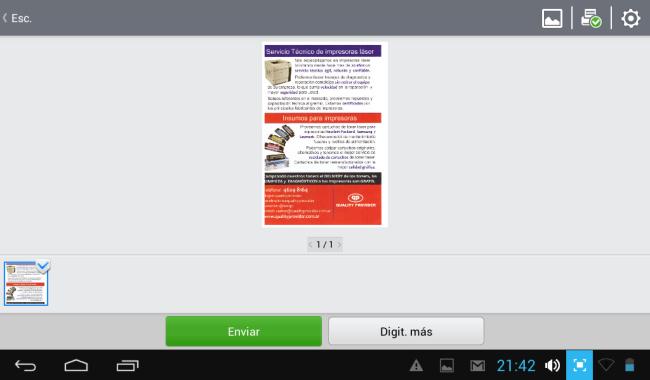 23 - El documento digitalizado se puede imprimir o enviar vía mail o subirlo a la nube, también compartirlo en redes sociales.