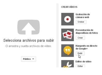 Ingresamos a la cuenta de YouTube y hacemos clic en el botón Subir. En la siguiente página vamos al panel derecho y hacemos clic en el botón [Emitir], que se encentra debajo de [Hangouts en directo de Google+].
