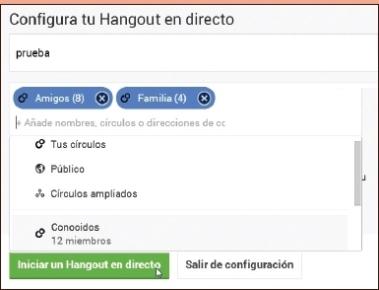 En la ventana emergente escribimos un nombre para identificar al hangout en directo, elegimos a los participantes desde los contactos de Google+ o invitamos a otros usuarios escribiendo sus direcciones de correo electrónico y luego presionamos sobre [Iniciar un Hangout en directo].
