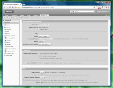 La configuración de Cloud Office tiene gran cantidad de opciones. Está pensado para cubrir cada gusto o necesidad.