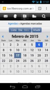 Consultando el calendario de nuestra Cloud Office desde un smartphone.