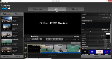 Vista de edición de GoPro Studio