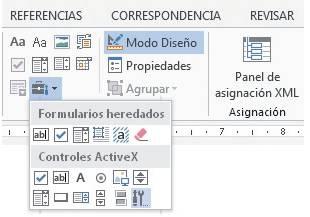 Vamos a la ficha [Desarrollador] y en el grupo Controles hacemos clic en el menú desplegable [Herramientas heredadas]. En la sección Controles ActiveX de este menú seleccionamos [Más controles].