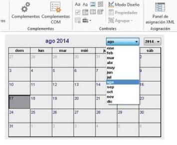 Activamos el [Modo Diseño] para cambiar las propiedades de configuración del calendario, o lo desactivamos para interactuar con este control.