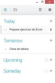 La interfaz de la extensión Any.do para Google Chrome es similar a la de la app para móviles.