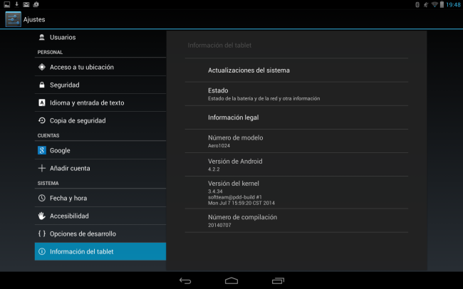 Detalle de la versión de Android.
