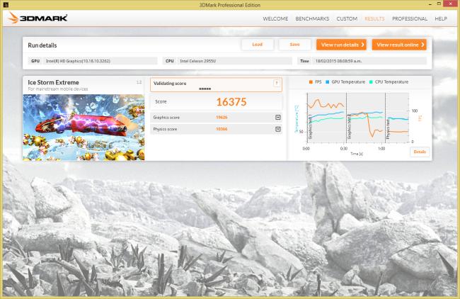 Resultado en Ice Storm, para comparación con otros dispositivos y plataformas.