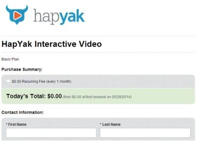 Nos conectaremos a http://corp.hapyak.com y haremos clic en [Try now]. Luego haremos clic en [Sign up] para la columna [Free] y completaremos el formulario de suscripción