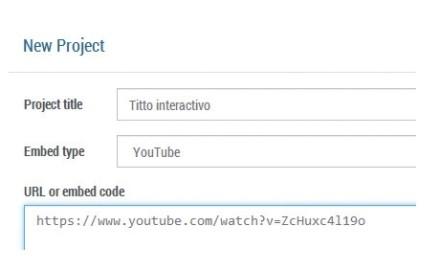 Haremos clic en [New] de la sección [Projects]. Completaremos la información del proyecto e incluiremos la URL del video que editaremos en [Paste URL or Embed code].