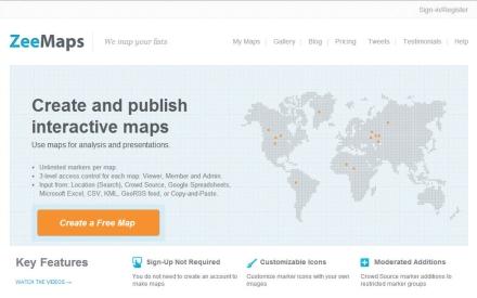 Nos conectaremos a www.zeemaps.com y haremos clic en [Create a free map].