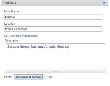 Agregaremos marcadores con [Additions]. En nuestro ejemplo utilizaremos [Add Marker - Simple] y completaremos los datos del cuadro [Add Entry].