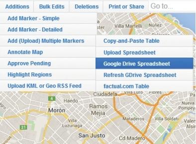 Agregaremos marcadores múltiples con [Additions/Add (upload) multiple markers]. Podremos usar como origen una planilla colaborativa con [Google Drive Spreadsheet].