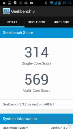 Resultado de Geekbench.